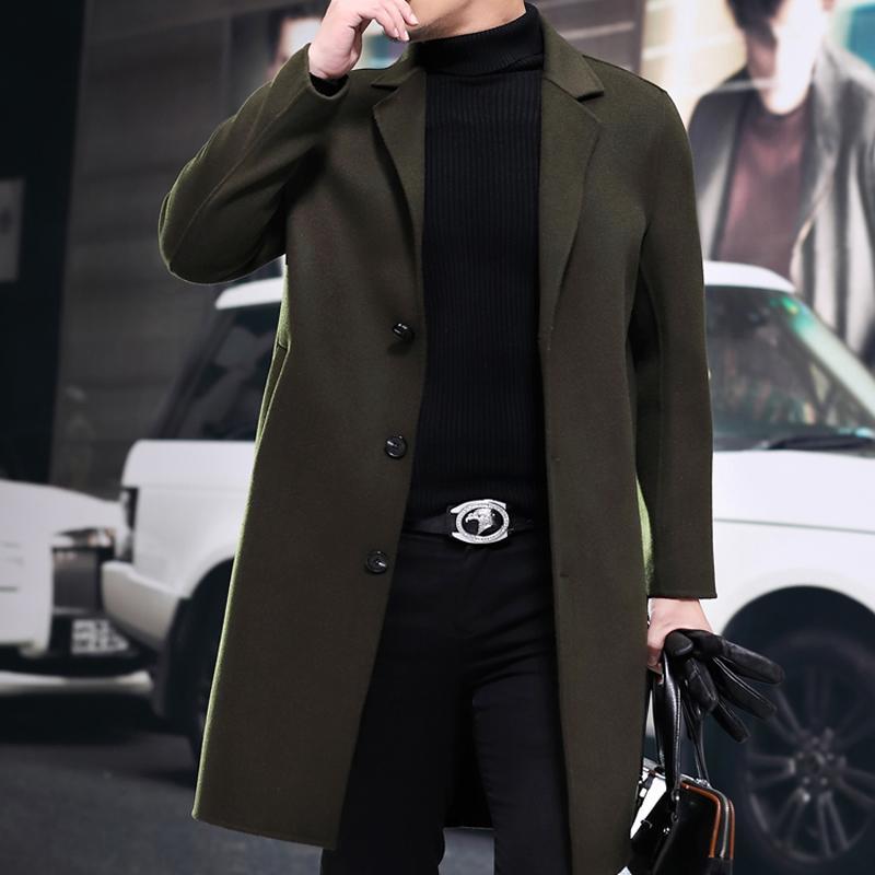 Automne Hiver 2020 Nouveau 100% Manteau en laine Hommes coréenne Fashion Slim Pardessus long cachemire Manteaux Casaco Masculino 8835 ZL395