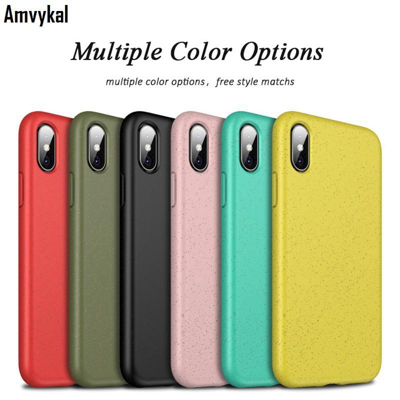 iPhone XR XS Max 6 6S 7 8 Plus Yumuşak Silikon Çevre dostu Buğday Straw Arka Kapak İçin iphoneX İçin Şeker Renk Telefon Kılıfları
