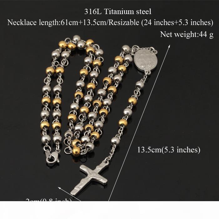 Colar longo New Trendy 18K real banhado a ouro Titanium Aço Mulheres Homens Jóias Atacado Cruz Rosário Colar Pingente