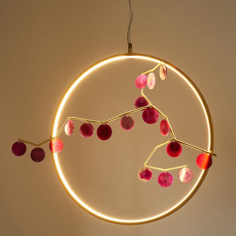Modern Ring Achat LED Pendelleuchte im chinesischen Stil Kleine Hänge Wohnzimmer Esszimmer Schlafzimmer Deckenleuchte PA0383