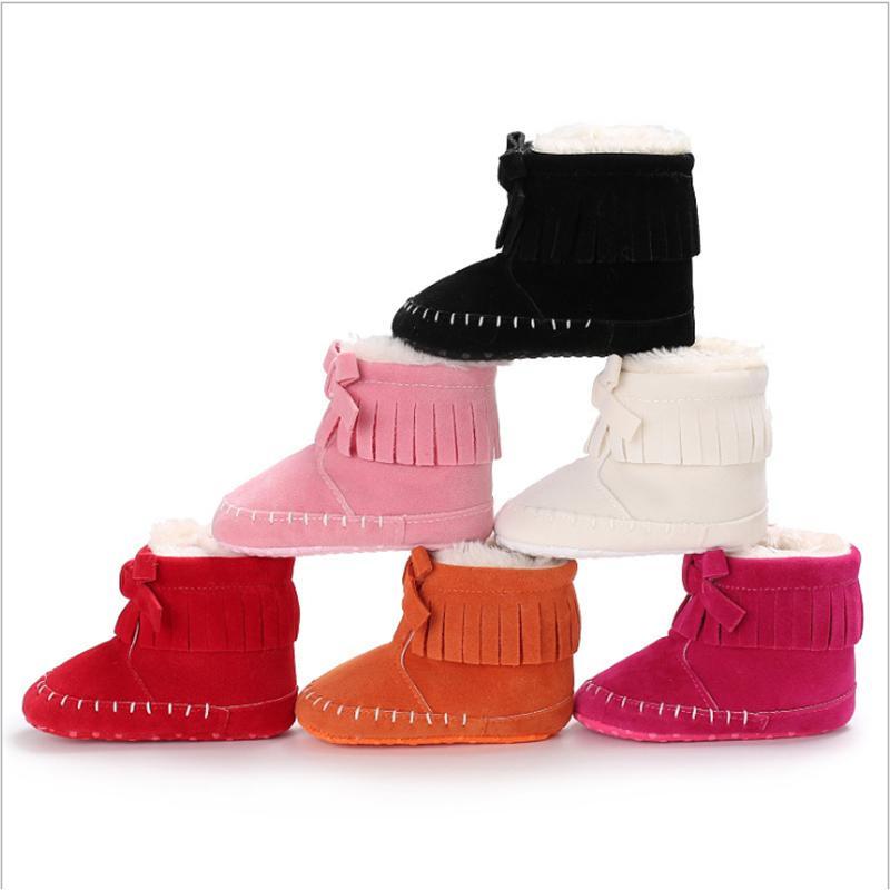 Premiers promeneurs nés bébé bébé fille filles bottes de neige hiver chaussures chaude solide bouton peluche cheville
