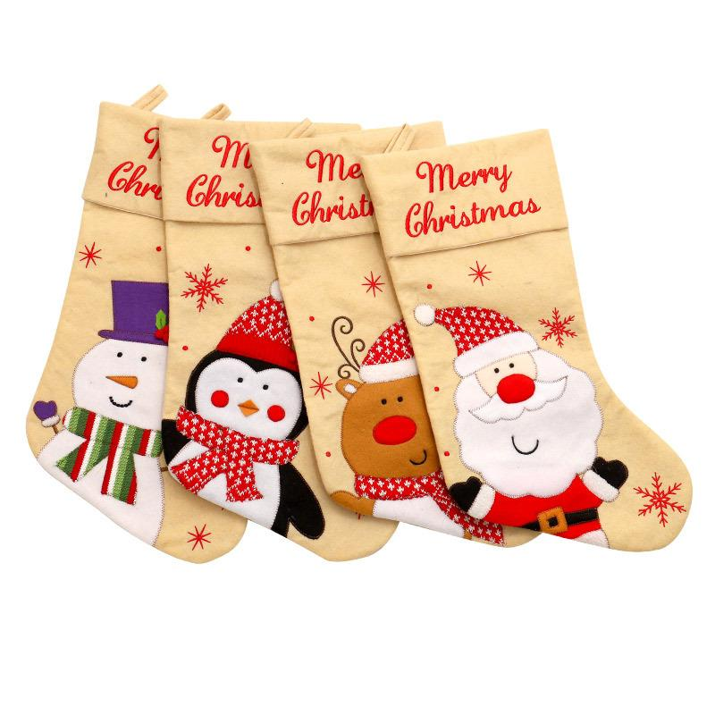 Merry Christmas decorations large candy sock gift bag for kids Xmas tree stocking pendant Santa Claus Reindeer Snowman Hanging Ornaments