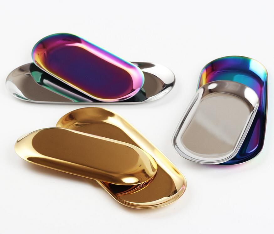NOVO Chic bandeja de metal bandeja de ouro de armazenamento de aço inoxidável PVD banhado Toalha Oval Bandeja Popular decoração de produtos