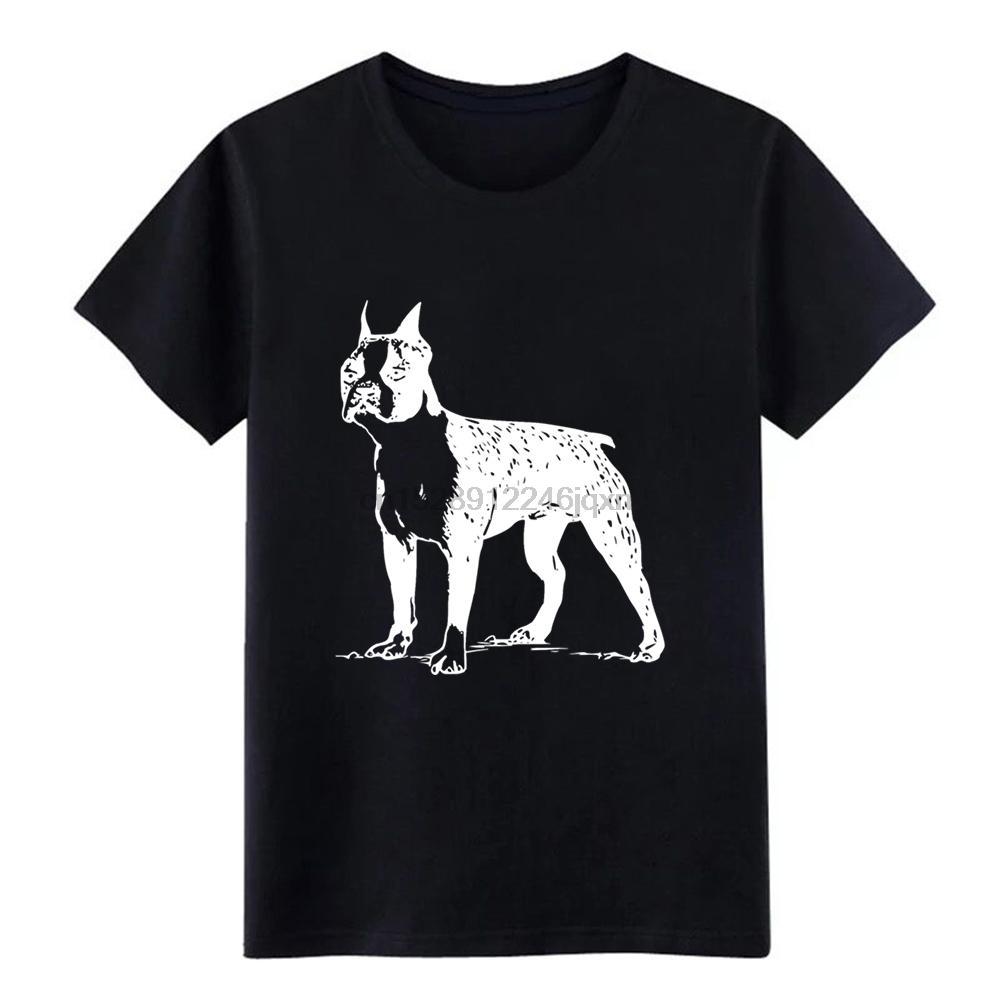 Erkek Boston terrier t gömlek özelleştirme Kısa Kollu Yuvarlak Yaka düz renk Fit Rahat Bahar Benzersiz gömlek