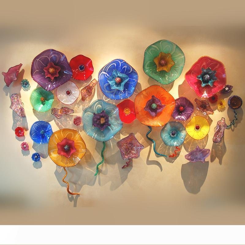 Hand Blown Glass Wall Art Plates Customized Colored Murano Glass Flower Wall Art for Dining Room Large Lobby Hotel Decor Free Shipping