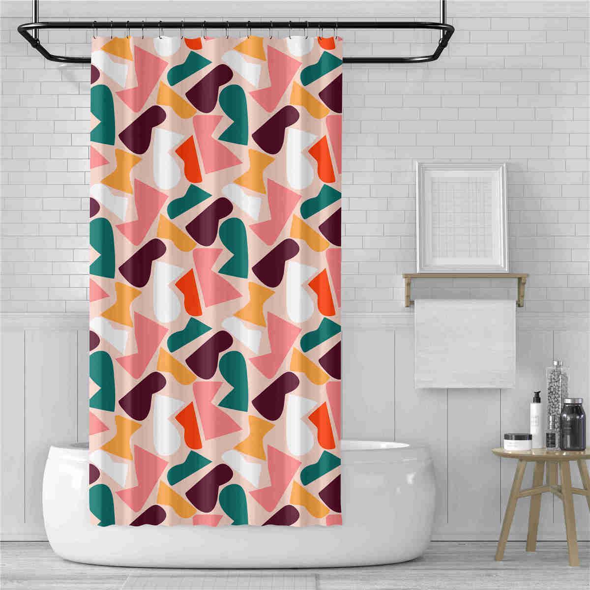 1Pc Waterproof Fabric Polyester Random Pattern /& Hooks Bathroom Shower Curtain