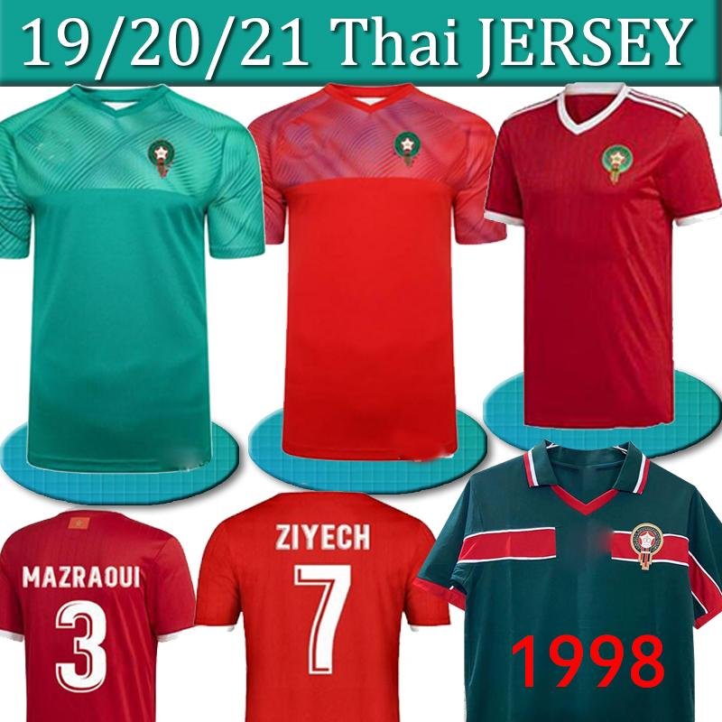 maillots de football européen Maroc 18 19 20 Maillot de pied ZIYECH HAKIMI rétro Camiseta de futbol BOUSSOUFA EL AHMADI le football uniforme THAI