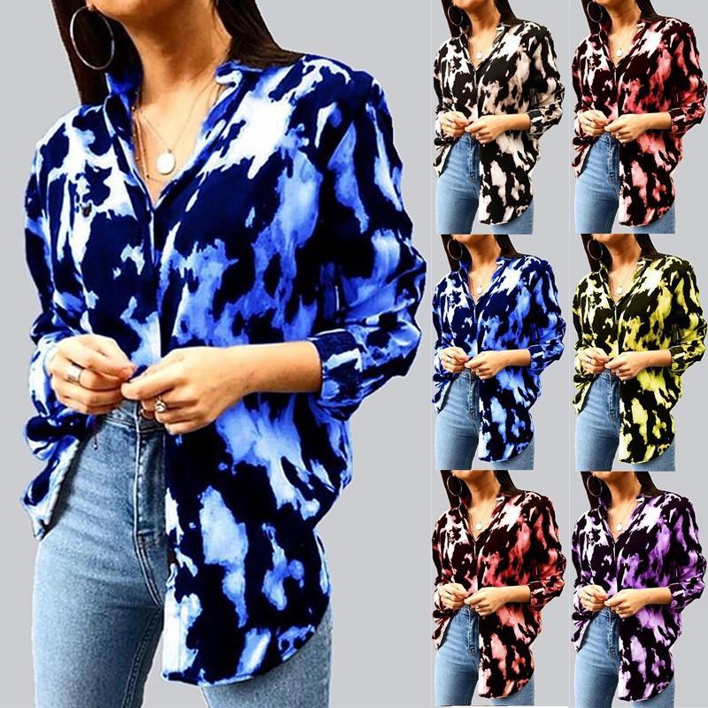 Moda más mujeres del tamaño de pecho ropa tie-dye de manga larga camisa de vestir ropa informal caída para las mujeres