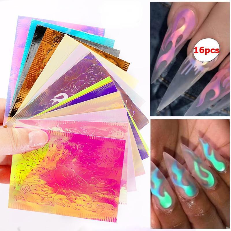 Nueva caliente 16 hojas / sistema Aurora de la llama etiqueta engomada del clavo holográfica colorido Reflexiones de fuego del clavo de la etiqueta autoadhesiva Láminas de bricolaje Nail Art Decoración