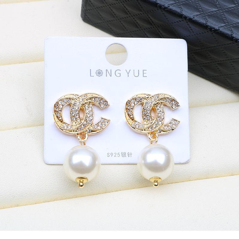 Gucci tasarımcı küpe cc püskül tasarımcı küpe moda küpe inci tasarımcı çember küpe altın akrilik B9