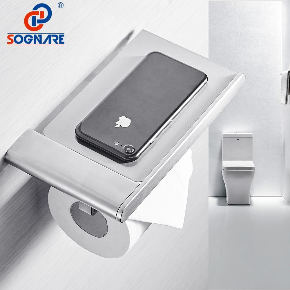 SOGNARE 304 из нержавеющей стали держатель для туалетной бумаги с телефона Полка для туалетной бумаги Настенный держатель для туалетной бумаги Аксессуары для ванной комнаты T200107