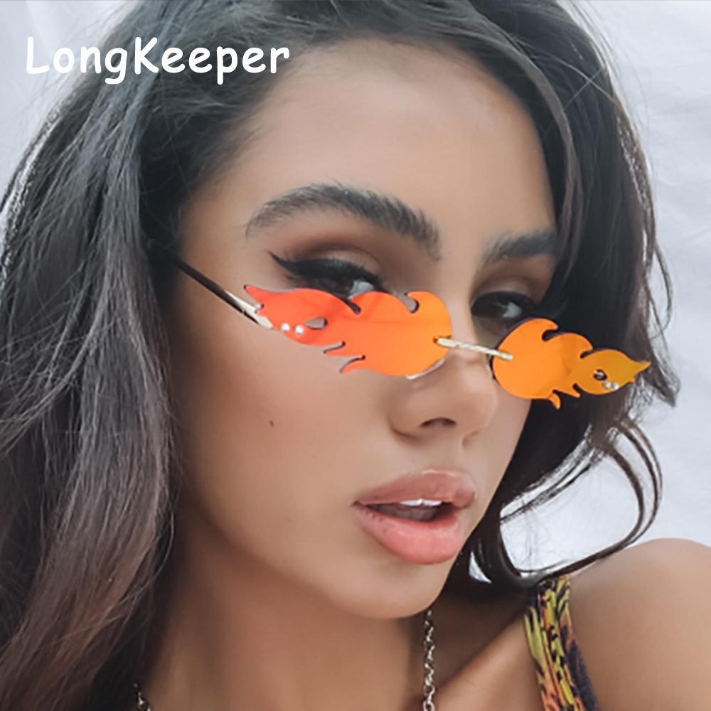Retro fuego llama gafas de sol de las mujeres de los hombres 2020 Small Wave vendimia los vidrios de Sun Diseño de la hoja de la calle sombras de moda Gafas Gafas de Sol
