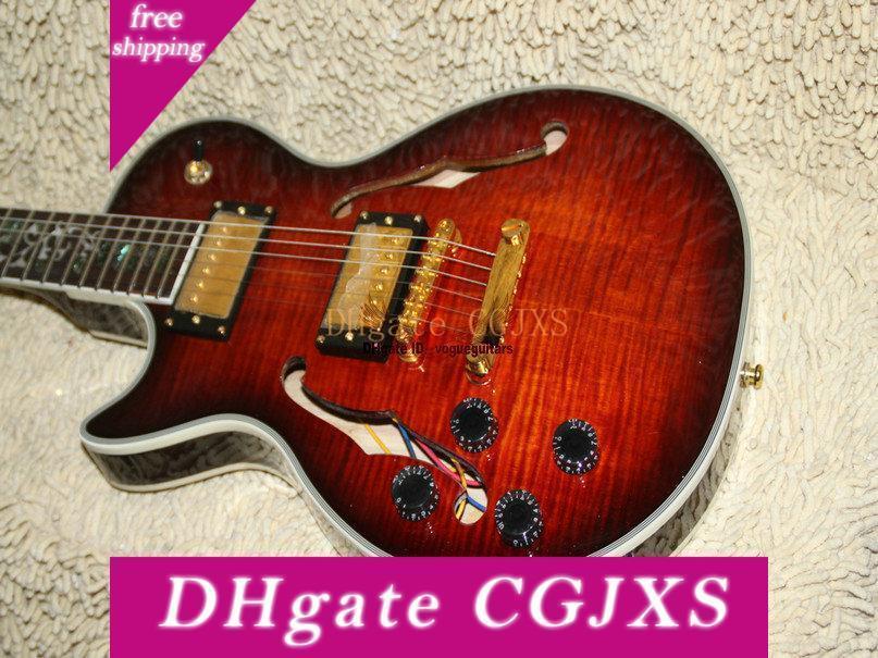 الجملة القيثارات اليسار مخصص سلم الغيتار الجسم الجوف الغيتار الكهربائي الكرز الأسود شحن مجاني