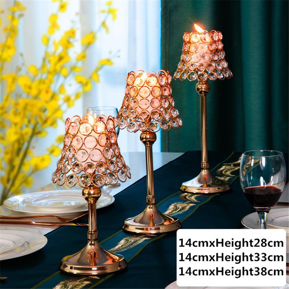 2020 Новый Nordic Креативный металл кристалл расположение Подсвечник цветок Подсвечник свадьбы Декоративные украшения Бесплатная доставка