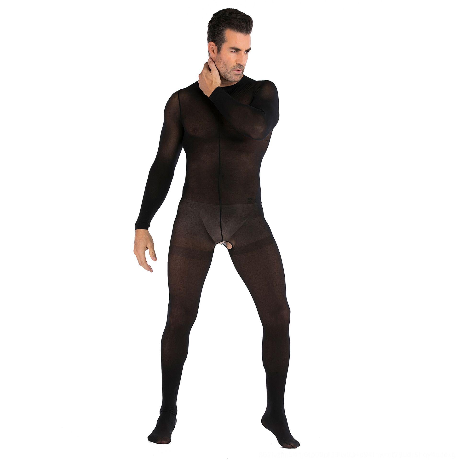 enteros de una sola pieza del cuerpo de manga larga Ropa interior pijamas apertura atractivo del club nocturno JJ conjunto sexy medias de las medias de la ropa interior de los hombres L9xJx