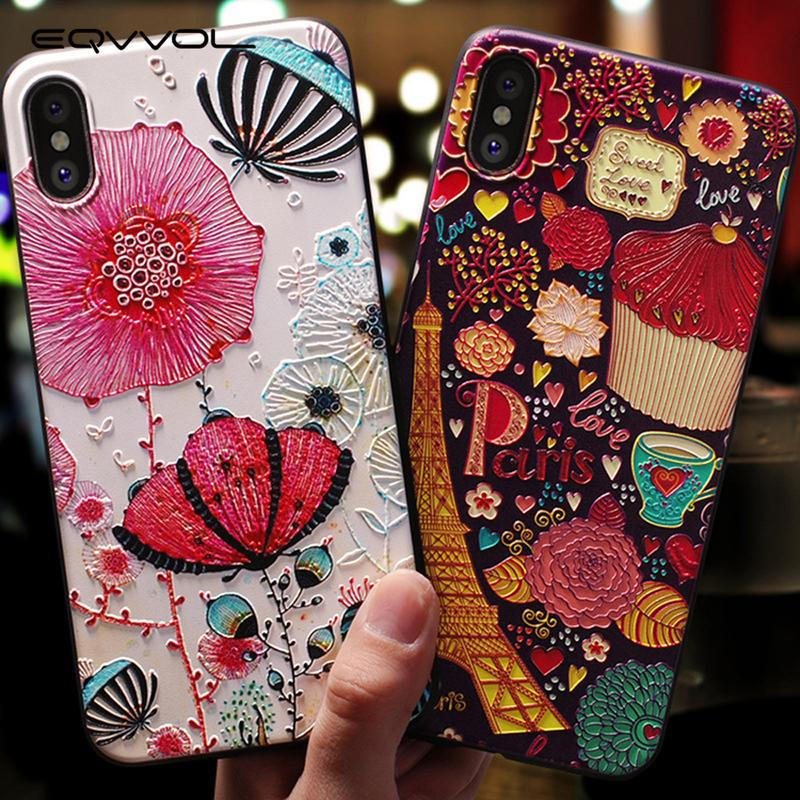 Eqvvol Cute 3D Emboss Cartoon Patterned Phone Case X 8 7 6 6S Plus Cases Soft Silicone Cover For iphone 5 5s SE Coque