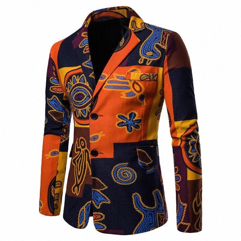 Mens neue Ankunfts-dünne Blazer Baumwolle Leinen Freizeit Printed Jacke Fashion orange Blazer Frühling und Herbst männlich Jackett Coats D1EE #