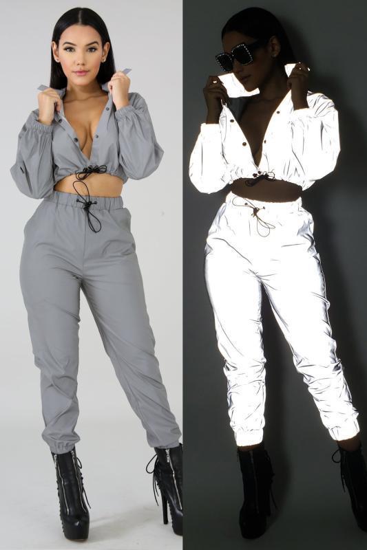 2-teiliges Set Frauen Jogger crop top Hosen femme reflektierende Outfits Trainingsanzug Kleidung im Dunkeln funkeln Anzug glühen