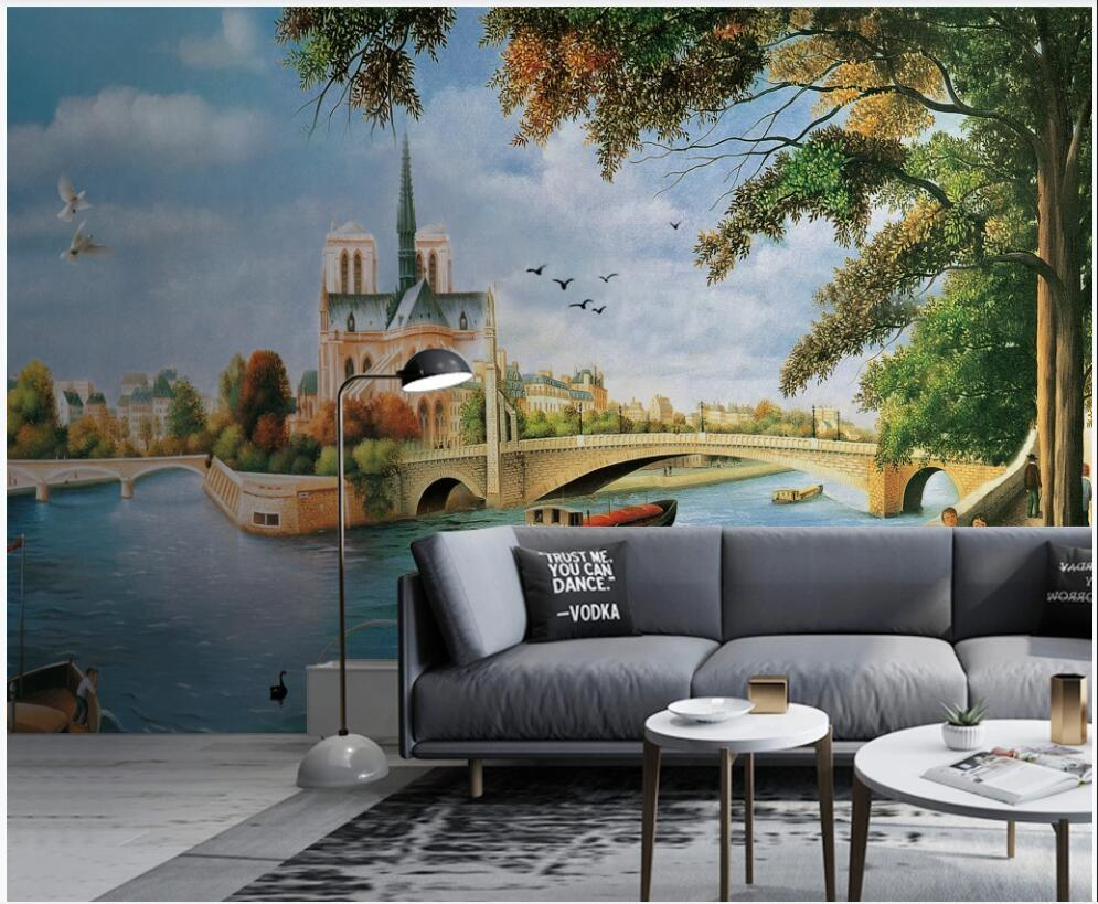 3d photo wallpaper custom mural Water city street ancient architecture landscape oil painting home decor Wallpaper rolls in the room