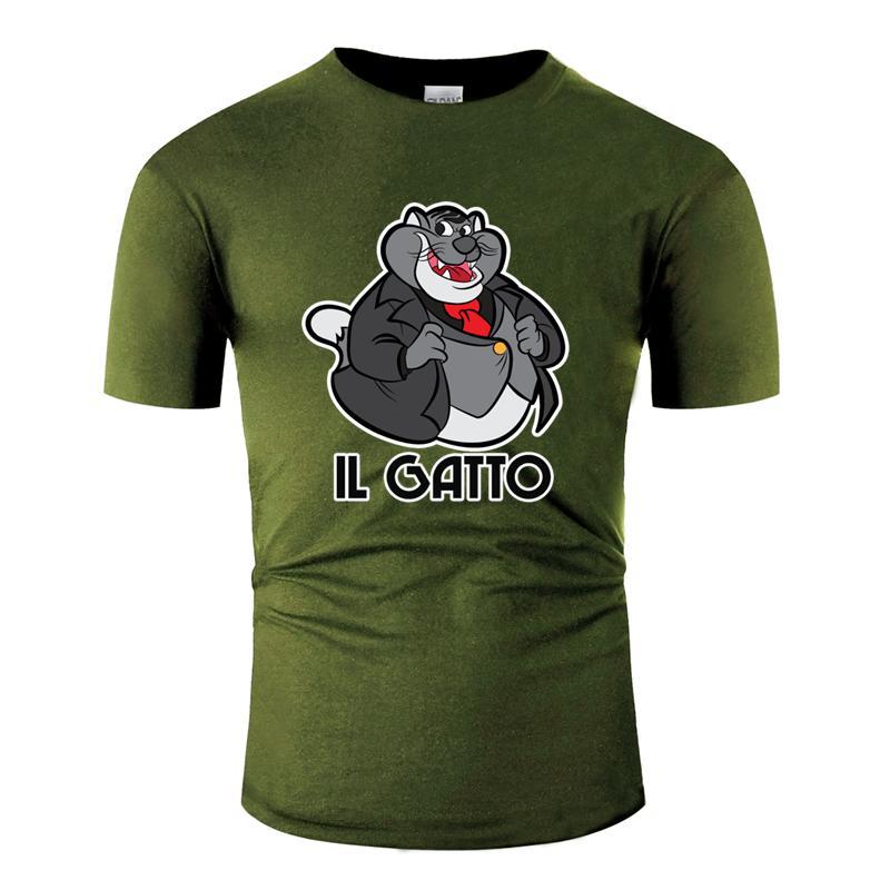 Imprimir respirável il gato t-shirt da máfia bosscat Outfit Roupas camiseta Anti-rugas manga curta HipHop