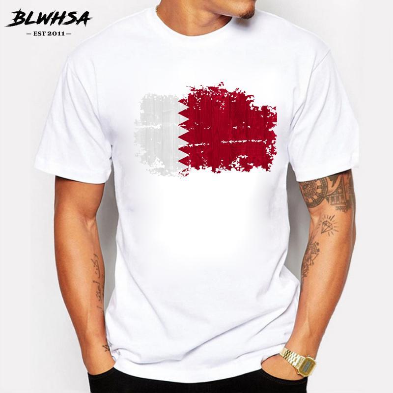 Katar Ulusal Bayrak Nostaljik Stil Tişörtlü Adam tişört Pamuk Ekibi Toplantısı Hayranları Streetwear Spor Katar Ülke Bayrağı