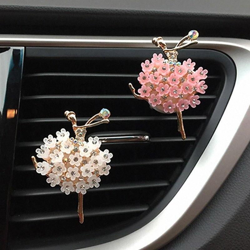 Crystal muchacha del ballet de la fragancia del aire del coche Vent clips de perfume del coche del difusor del aroma Auto Outlet ambientador de aire del coche-Styling jfRv #