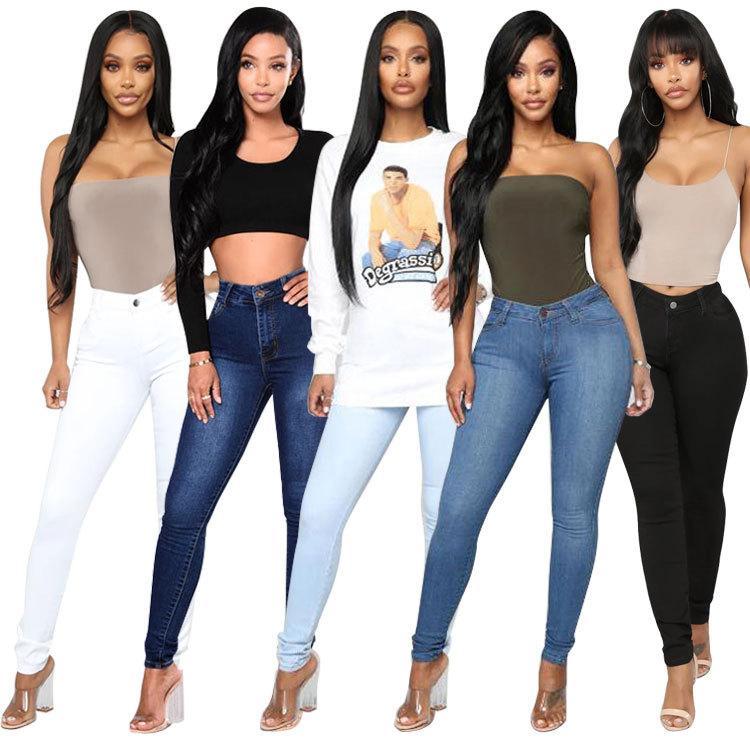 Diseñador de Womens Jeans 2020 Nueva mujeres de la llegada del color sólido flaco Stretch Jeans Ladies lápiz pantalones ocasionales 5 estilos