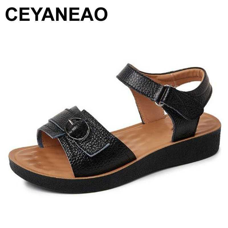 CEYANEAO sandalias madre cuero genuino de la nueva del verano antideslizante plana zapatos cómodos sandalias casuales las mujeres tamaño grande de la sandalia