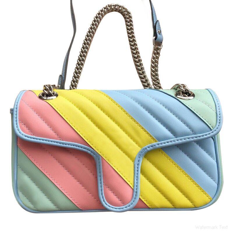 Женщины Классический стиль моды сумки щитка цепи посыльного сумки Macaron цвета кожа большой емкости мешки плеча Размер 26cmX15cmX7cm Type1