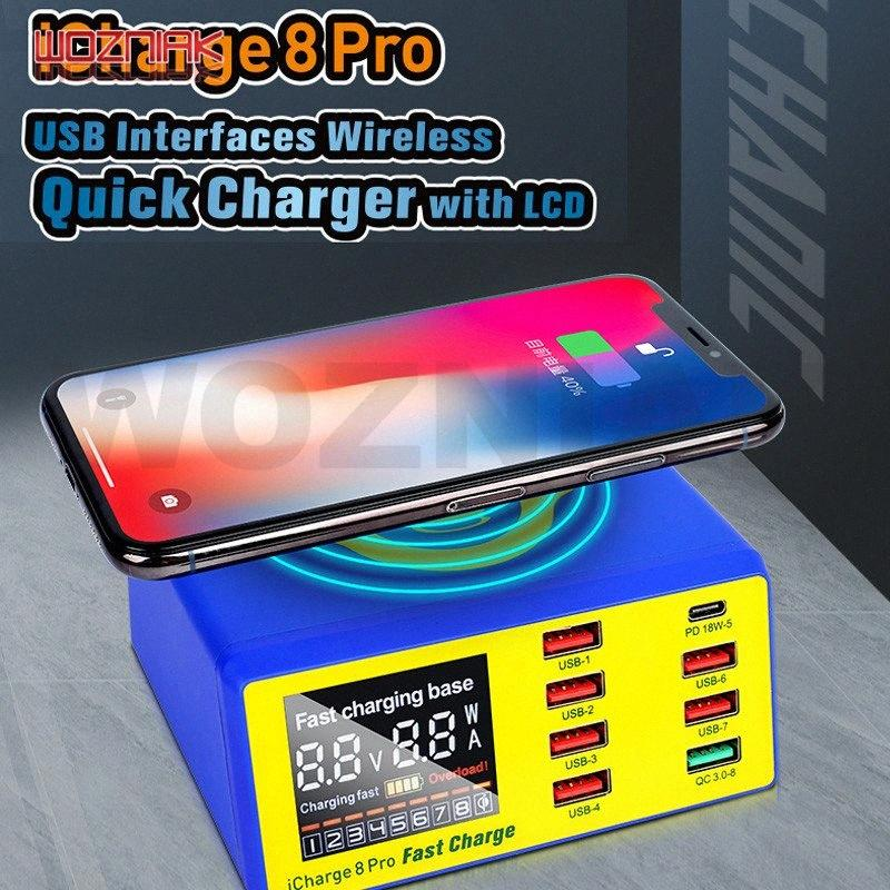 MECHANIC iCharge 8 Pro 8USB intelligente Ladung QC 3.0 Wireless-Gebühr WLAN mit LCD-Display für Handylade 8TvI #