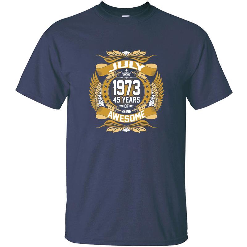 Progettazione luglio 1973, 45 anni di essere shirt maglietta in cotone 100% Lettere girocollo vestiti Uomini magliette Camisas Impressionante