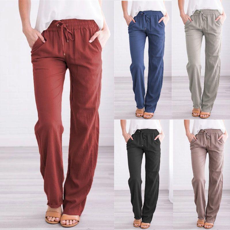Women Wide Leg Pants Elastic Waist Loose Trousers Drawstring Casual Leggings Ladies Sports Long Pants Fashion Female Capris 050726