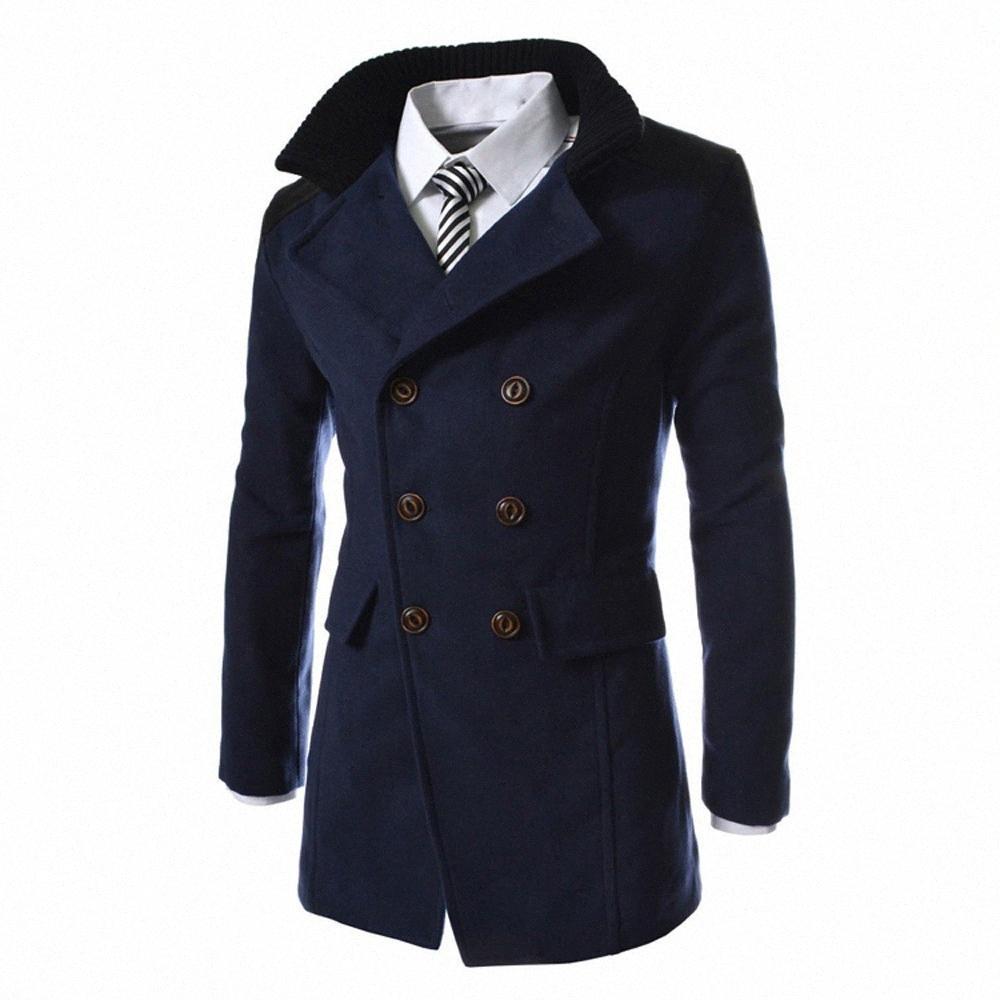 2018 hombres de invierno larga chaqueta de lana caliente Trench Outwear remiendo Botón Casual Male Abrigos Ropa X6Cc #
