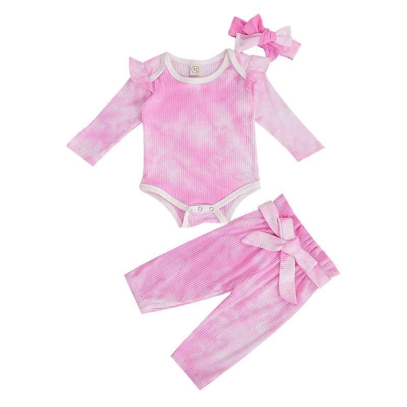 3 шт Новорожденные Tie-краситель печати осенью Эпикировка Infant Длинные рукава вокруг шеи Bodysuit Шнуровке Брюки и оголовьем Set
