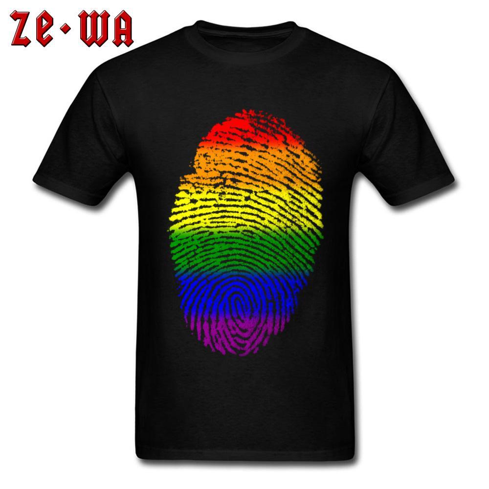 Ребята Gay Pride Tshirt Fingerprint Радуга флаг LGBT Футболка для мужчин Customized тройники с коротким рукавом тенниска O шеи хлопка одежды