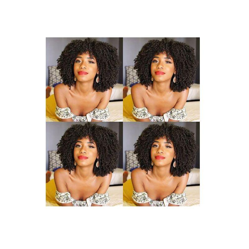indio suave de las nuevas mujeres calientes del pelo africano Americ afro corto rizado rizado bob peluca llena del pelo humano peluca rizada de simulación negro con flequillo