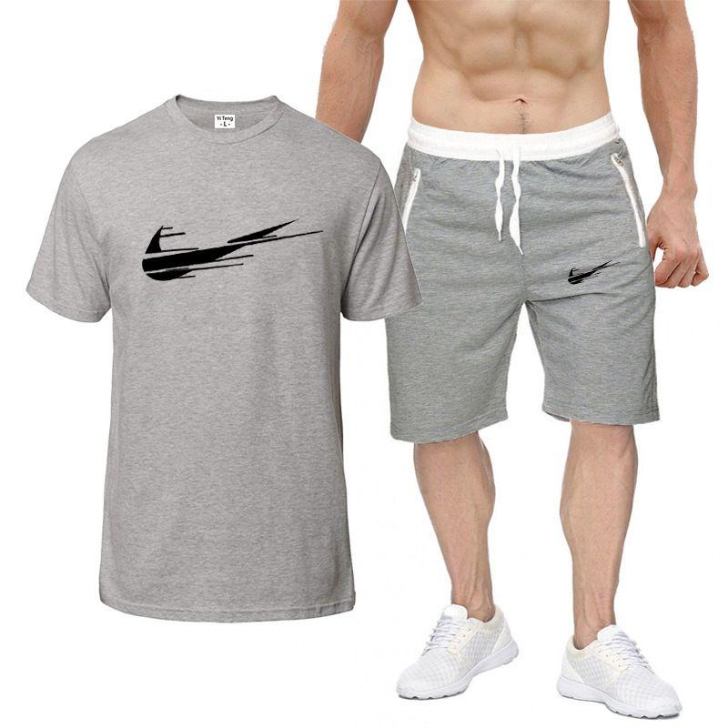Moda yeni yaz unisex sokak Moda PURE PAMUK KISA KOLLU T-GÖMLEK giyim + şort rahat spor takım elbise erkek erkek eşofman izlemek