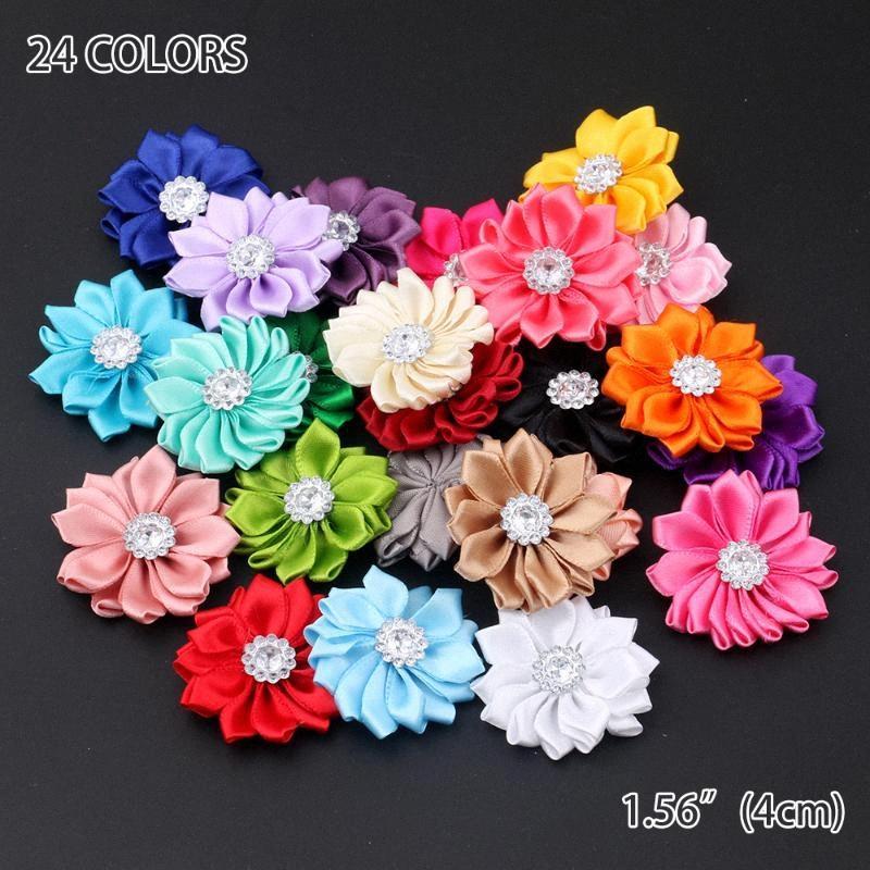 50pcs / lot 16 Petaled Rosette Satin-Band-Blumen mit Knopf Acryl für Diy Stirnband Clips Haarschmuck w2db #