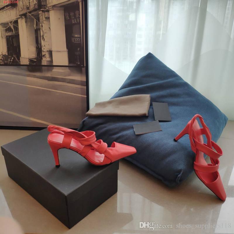 neue 2020 echtes Leder-Frauenschuhe Hochzeitskleid Schuhe Arbeiten Sie Absatz rot, weiß und blau Krokodil Zeheentwurf