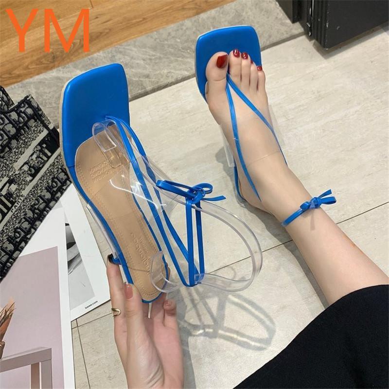 2020 atractivo de la boda del partido finos de los altos talones de las sandalias de las mujeres de moda de la Cruz Correa gladiador zapatos de punta cuadrada de verano Mujer de PVC Sandalias