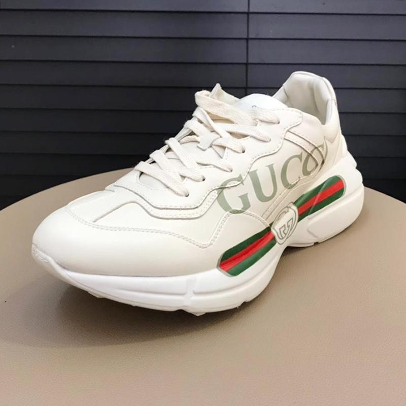 Yeni Erkekler '; S Rhyton Deri Sneaker Vintage Erkekler'; S Ayakkabı Yeni Geliş Rahat Ayakkabı Dantel -Up Lüks Casual Erkek Ayakkabı Herren Lux