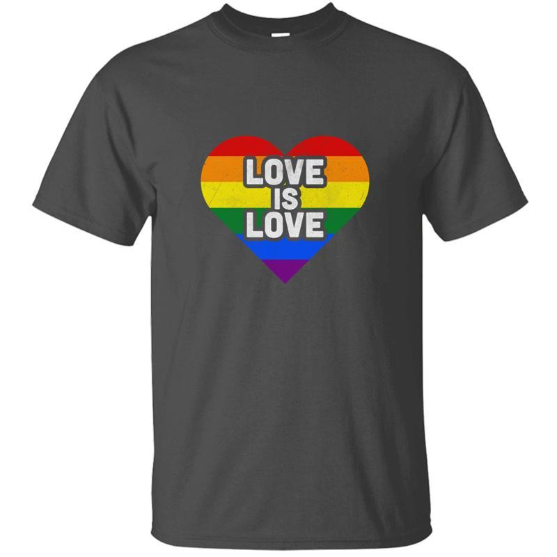 Yeni Geliş Tasarım LGBT Gay Pride Gökkuşağı Renkli Bayrak Aşk Kalp Tişört Homme Erkek Kız Tshirts Kısa Kol Hiphop Tops