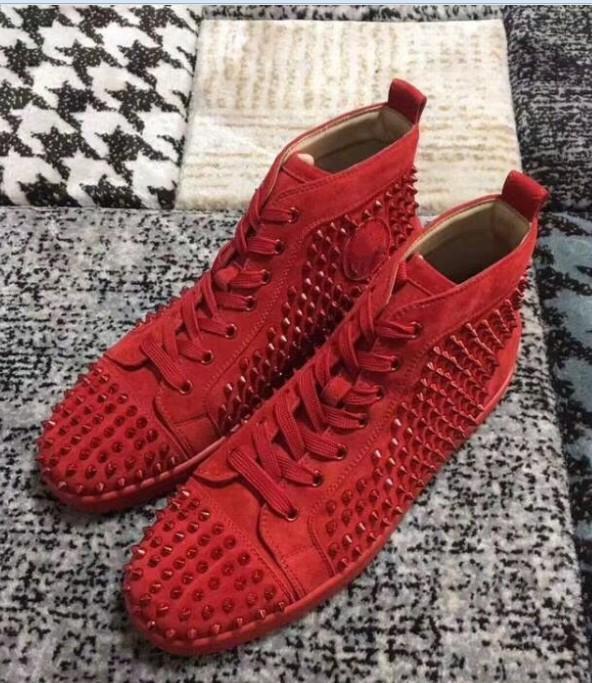 CS0258 Paris High Top Homens Mulheres Com Spikes Lace Up Red inferior Moda Sneakers de alta qualidade, Unisex Brands apartamento confortável Casual