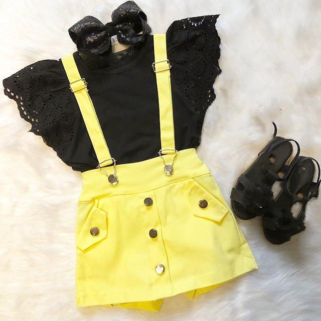 2-7Y Tout-petit bébé layette Sets dentelle à manches courtes noir T-shirts Tops + Dossard jaune Salopette Shorts 2pcs