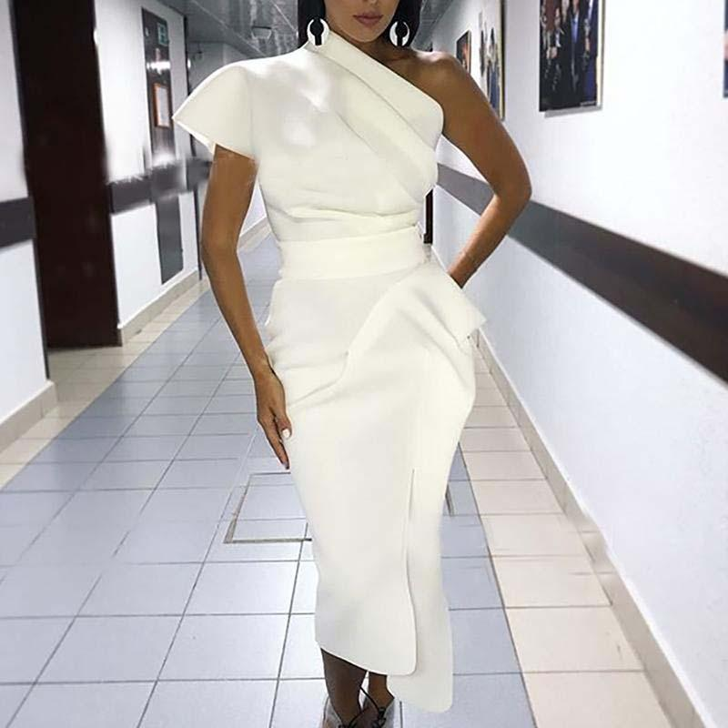 Sexy одно плечо рябить Midi платье партии Женщины 2020 Осень Твердая Bodycon лета платья партии вечера Vestidos