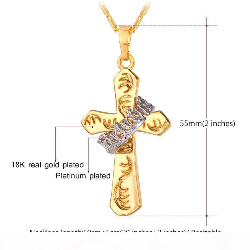 Platino Unisex Two Tone Croce d'Oro Ciondoli oro reale 18K placcato di alta qualità delicato ciondolo Anello Collane