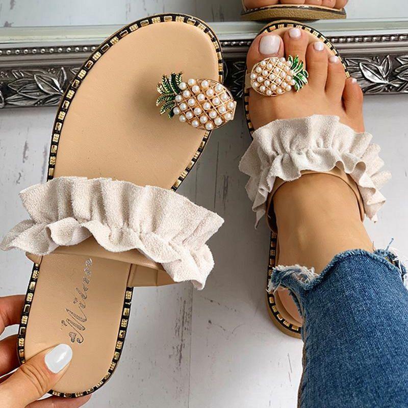 Женщины Сандалии Тапочки Обувь Плоский Вьетнамки Строка из бисера Лето 2020 Мода клинья Женщина Слайды Ананас Lady Повседневный Mujer