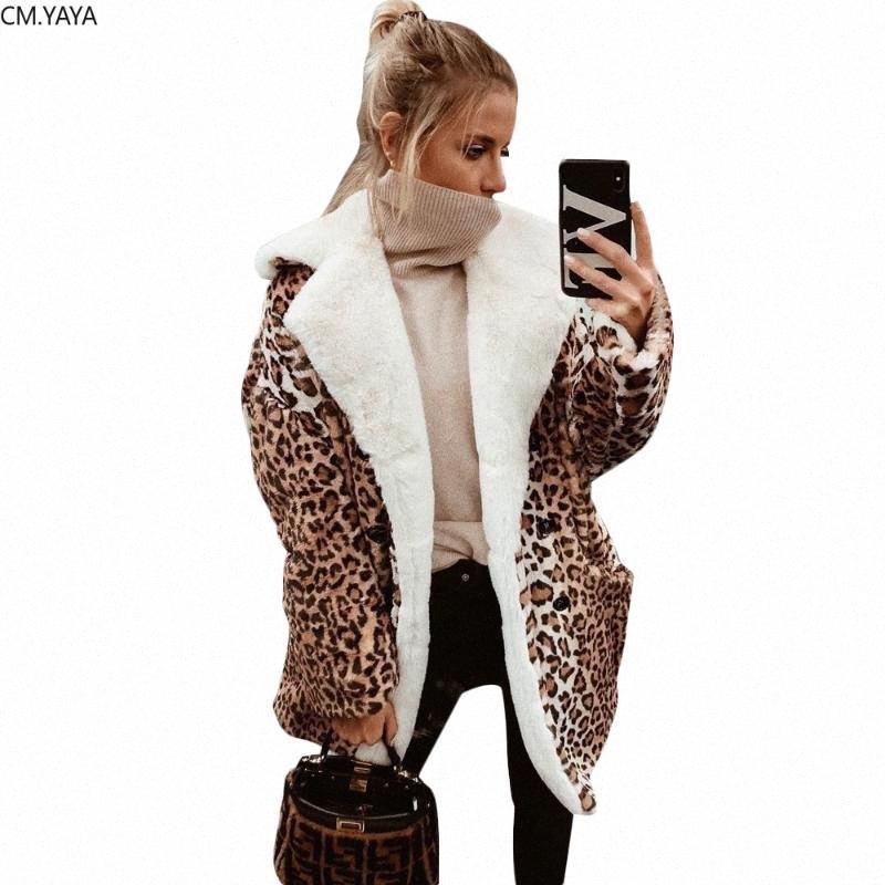2020 2020 Leopard Baskı Yün Karışımları Düz Uzun Coat Kış Sokak Giyim Kadınlar Aşağı Yaka Uzun Kollu Casual Dış Giyim GL3739 BpBf # çevirin