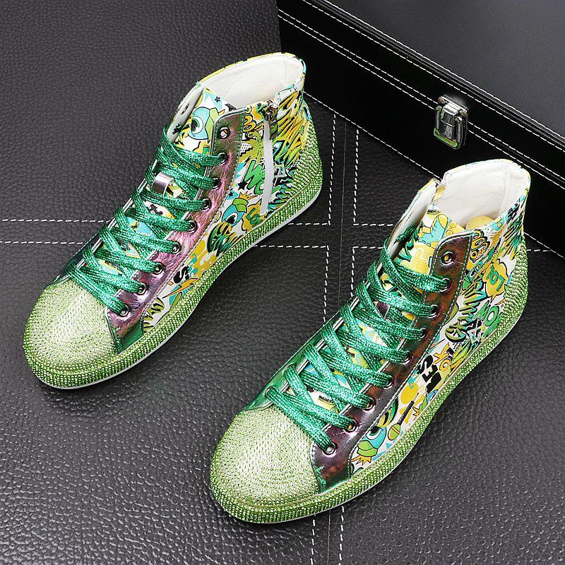 2020 diseño de lujo de los NUEVOS hombres del Rhinestone de la impresión causal de los holgazanes de los zapatos de plataforma plana de alta tapas prom mocasines masculinos zapatillas de deporte del salto de la cadera