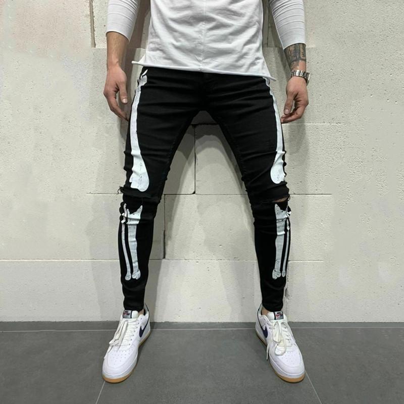 2020 весной и осенью новый Мужские джинсы вскользь маленькие ноги для Slim Мужская Printed Белый Stretch Pants Q072901